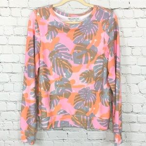 WILDFOX Pink Tropical Sommers Pullover Sweatshirt